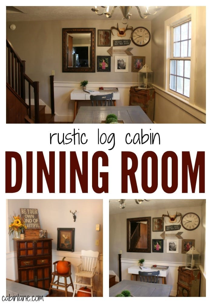 Rustic log cabin dining room before and after.