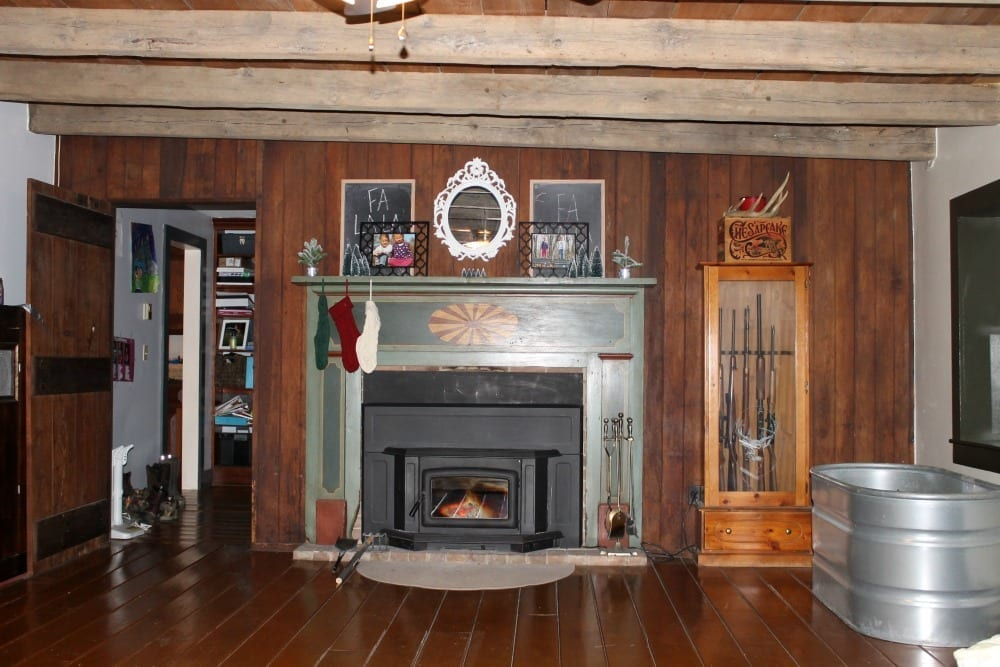 Real wood paneling in living room.