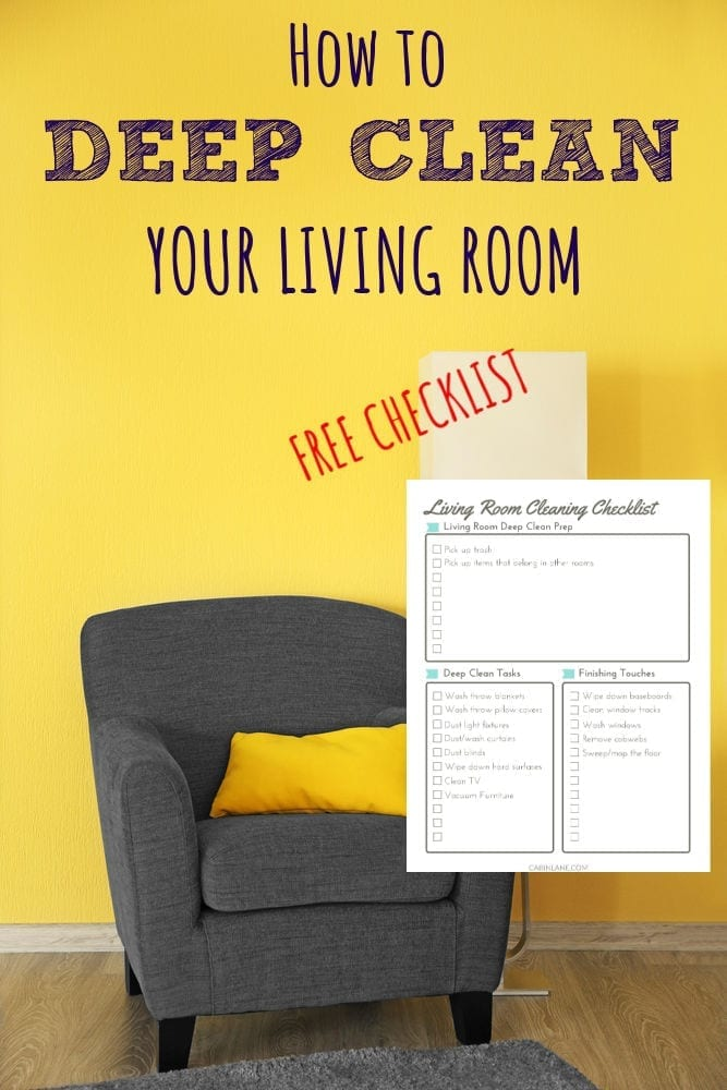 Are you ready to give your house a good cleaning? Here's how to deep clean your living room with a free printable checklist.
