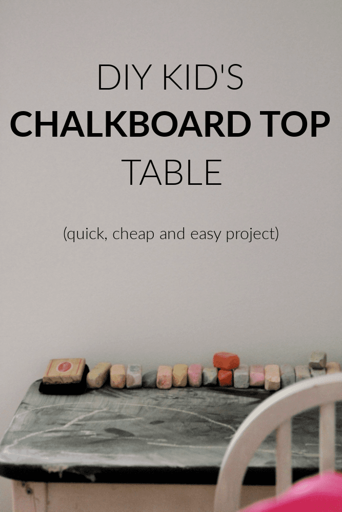 If you have an old kid's table laying around try this cheap and easy DIY kids table with chalkboard top makeover. It looks awesome!