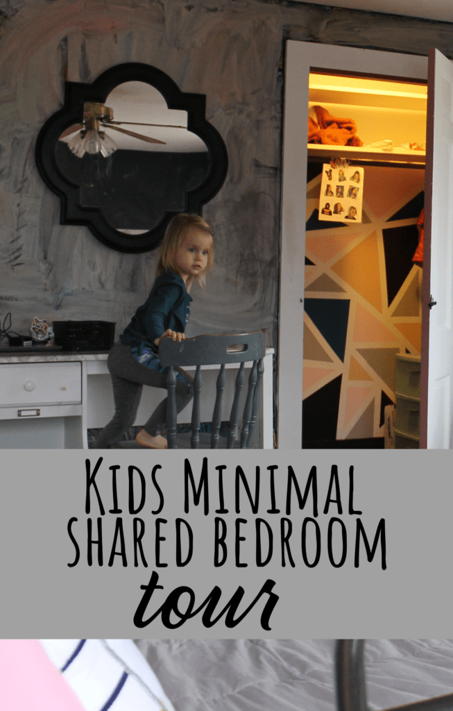 Minimal shared kids bedroom for a ten year old and three year old girl. Simple and sweet.