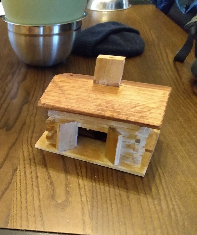 stained or natural log cabin incense burner made in Colorado