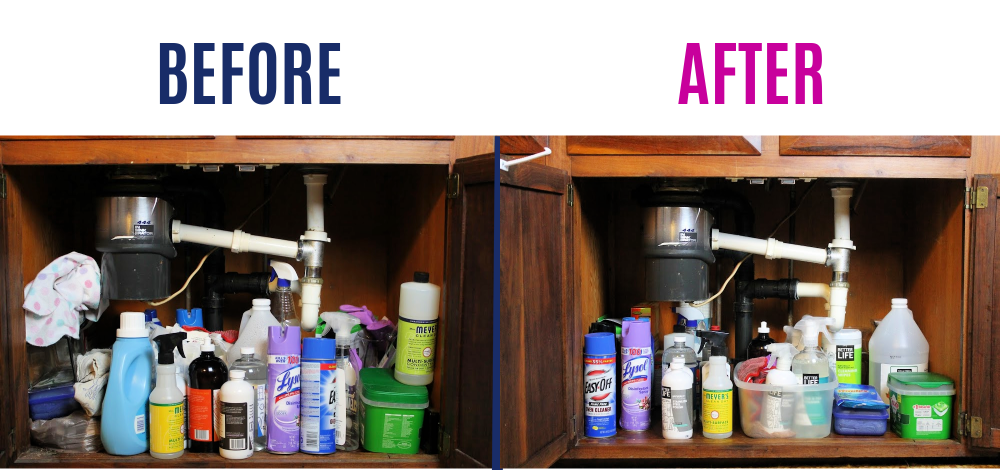 Decluttering before and after: cleaning supplies