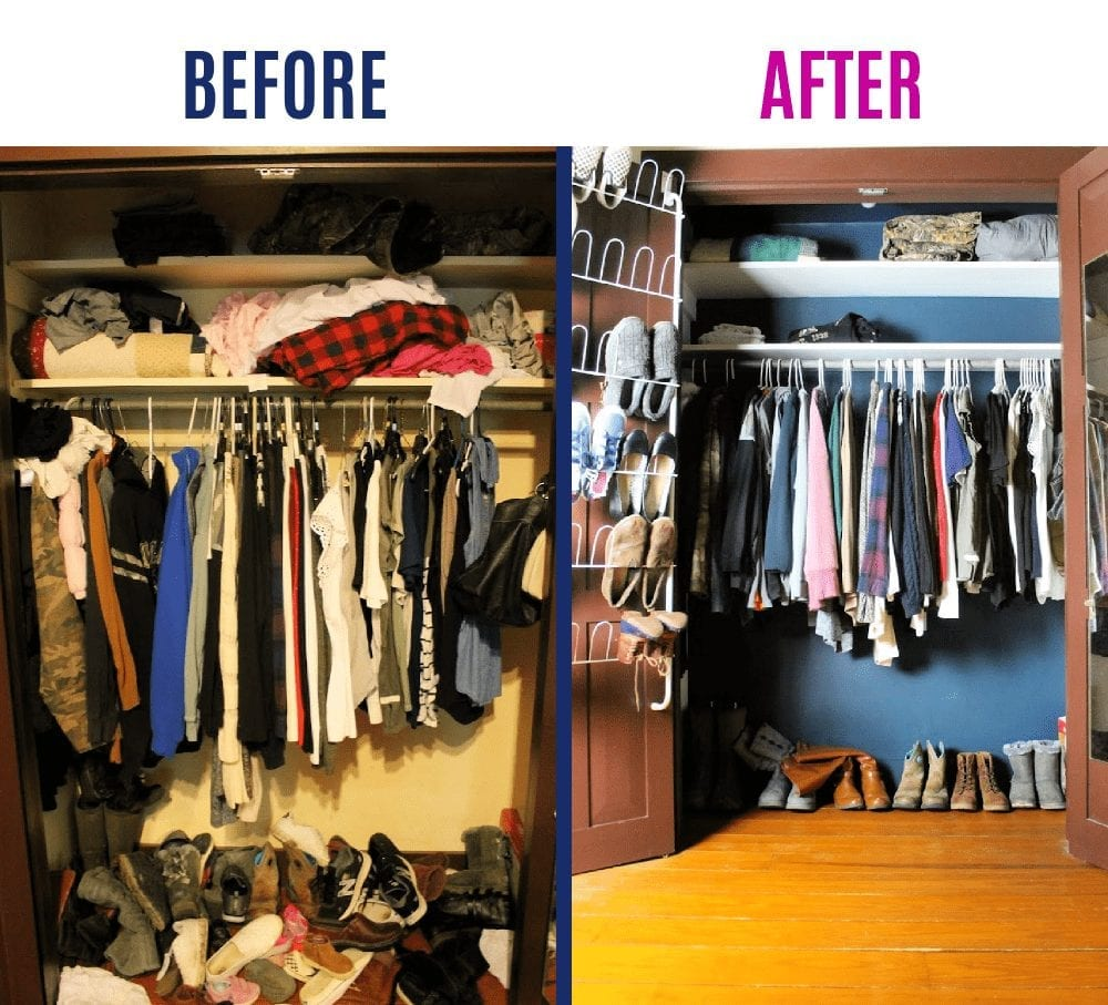 decluttering before and after the closet