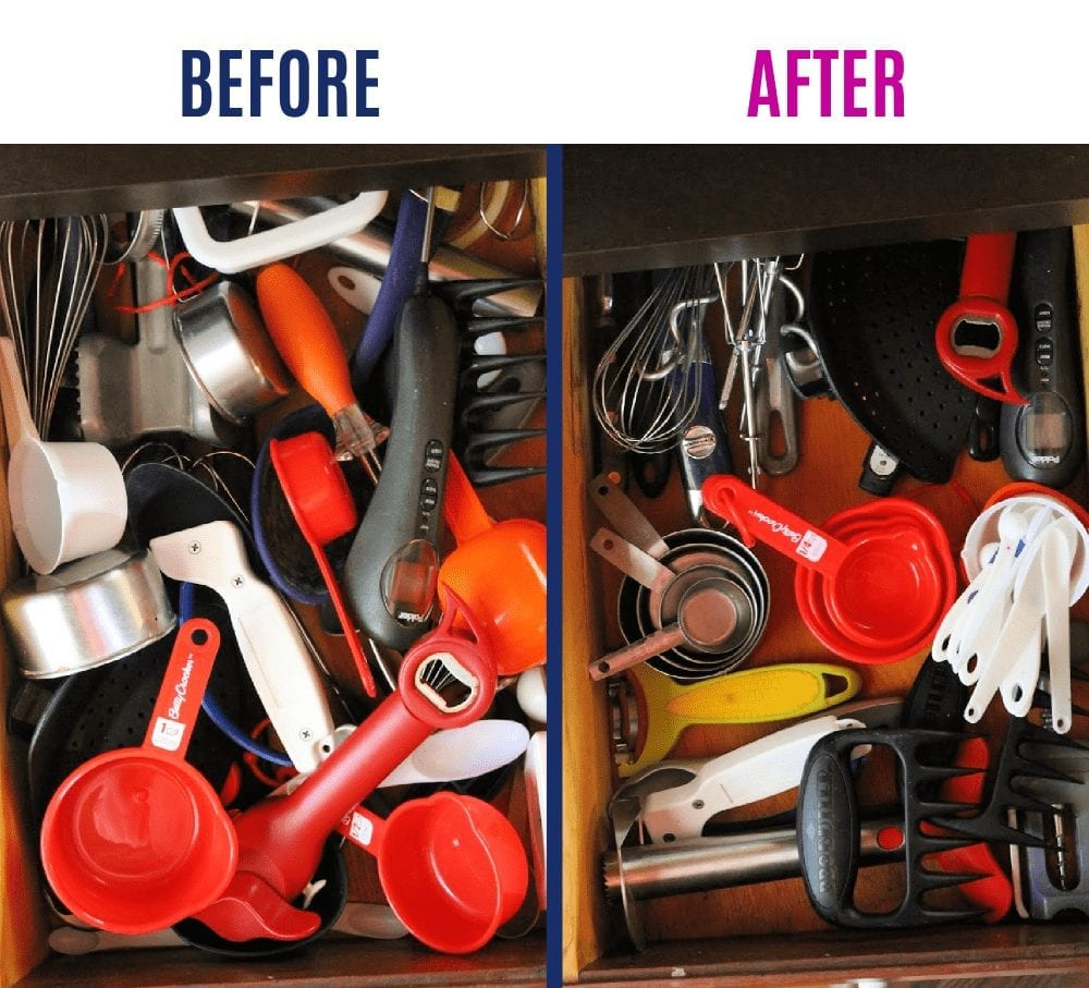 Decluttering before and after