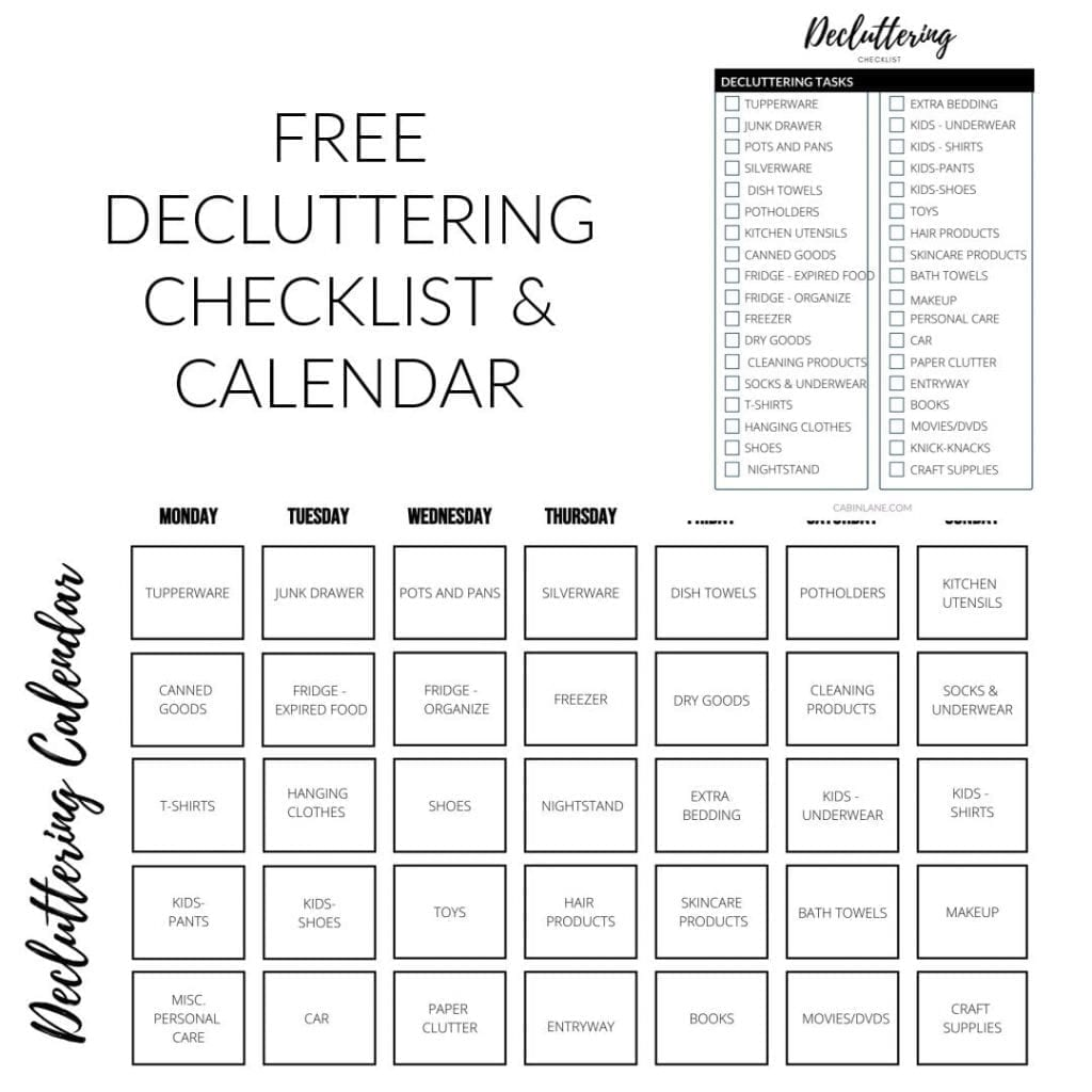 FREE 10 MINUTE DECLUTTERING CHALLENGES CALENDAR AND CHECKLIST