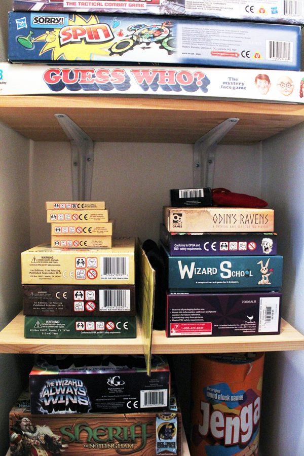 Toy storage and organization ideas: Organize your board games by adding shelves to a closet.