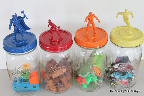 Use Mason Jars to Create Storage for Small toys and figurines
